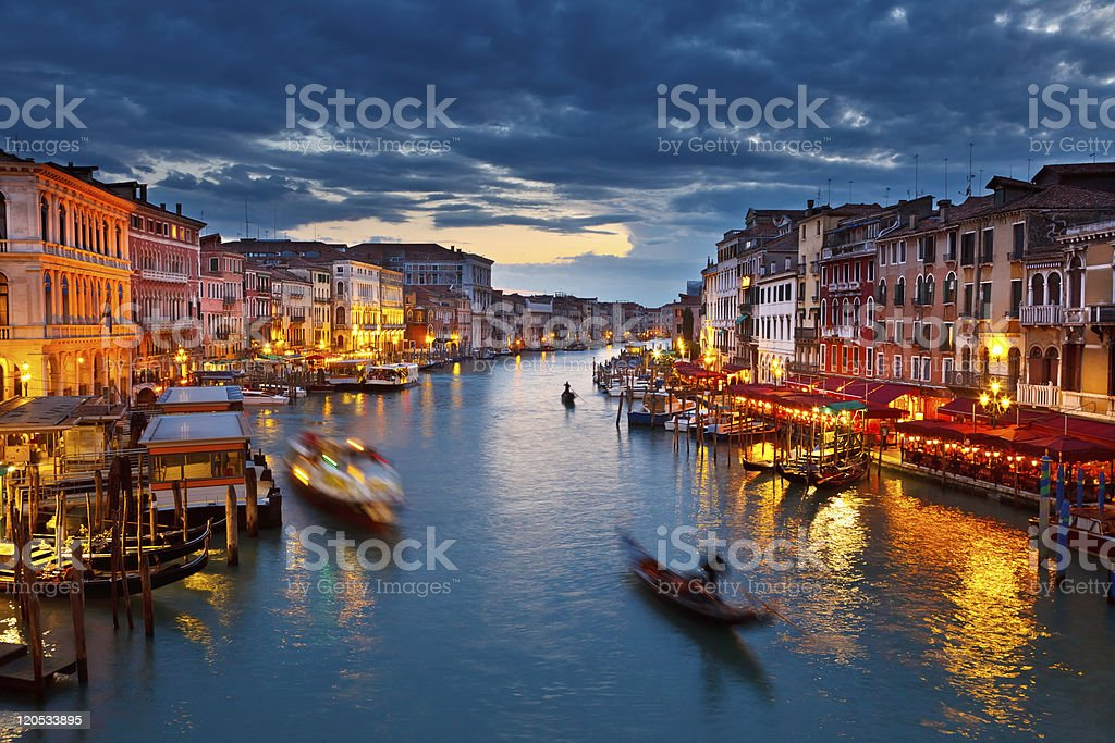 Grand Canal at night royalty-free stock photo