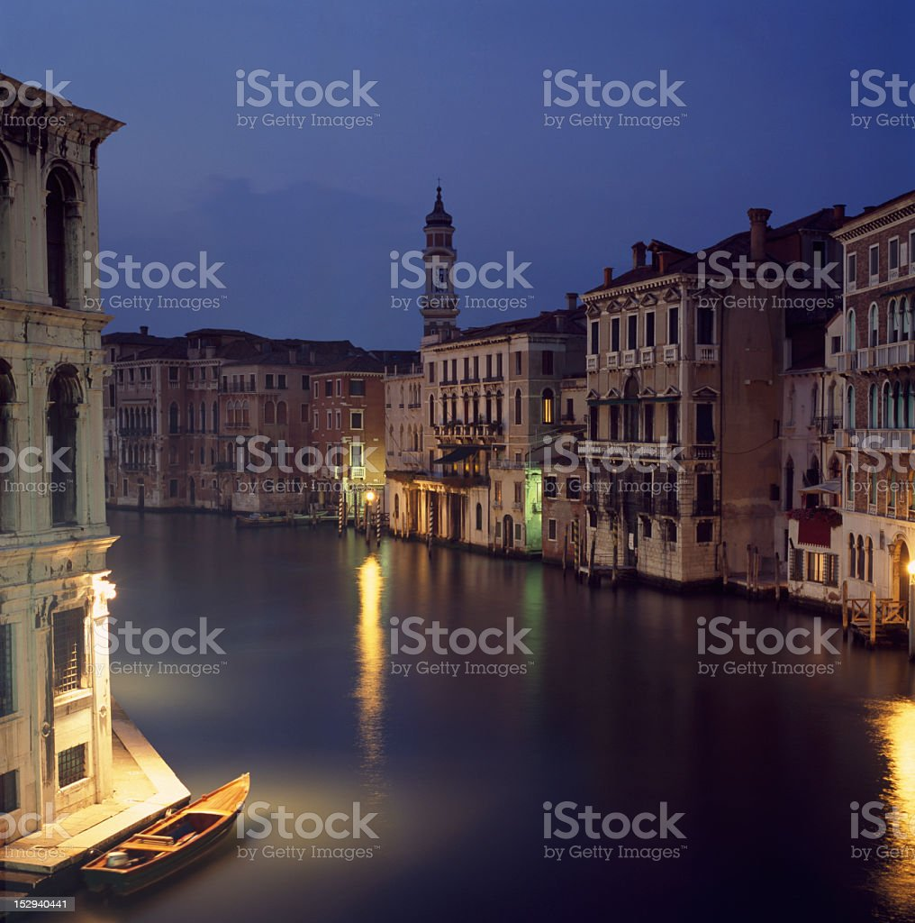 Grand Canal at night, Venice, Italy royalty-free stock photo
