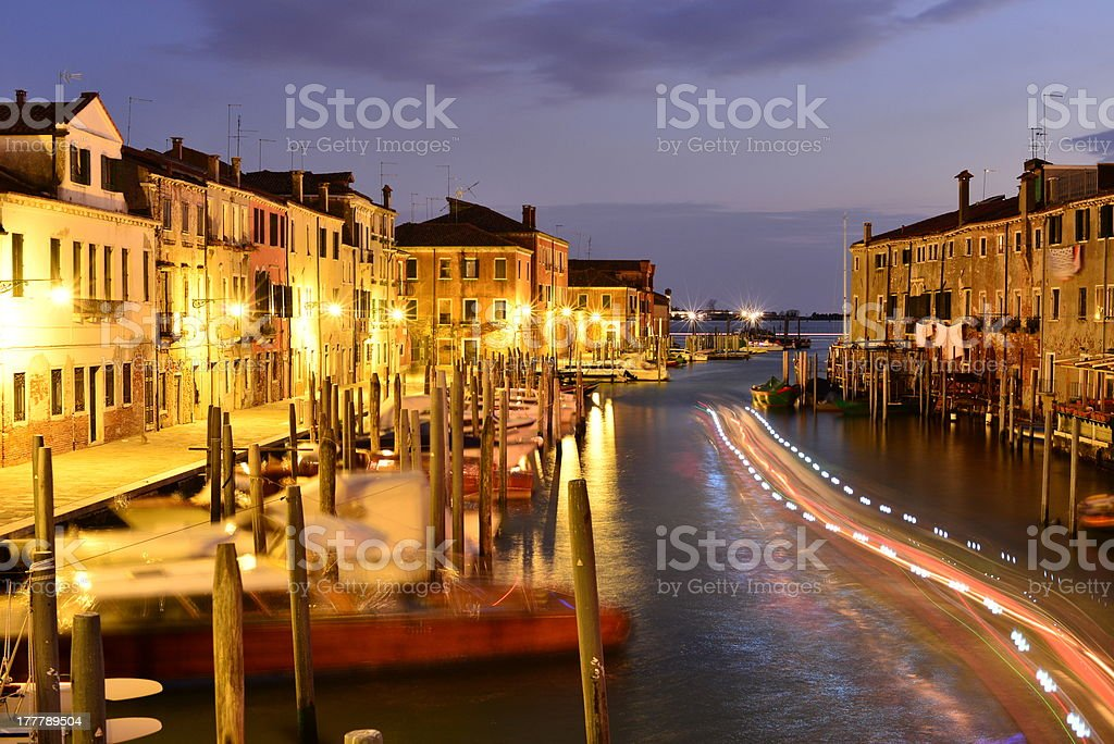 Grand Canal at night - Venice, Italy (long exposure) royalty-free stock photo
