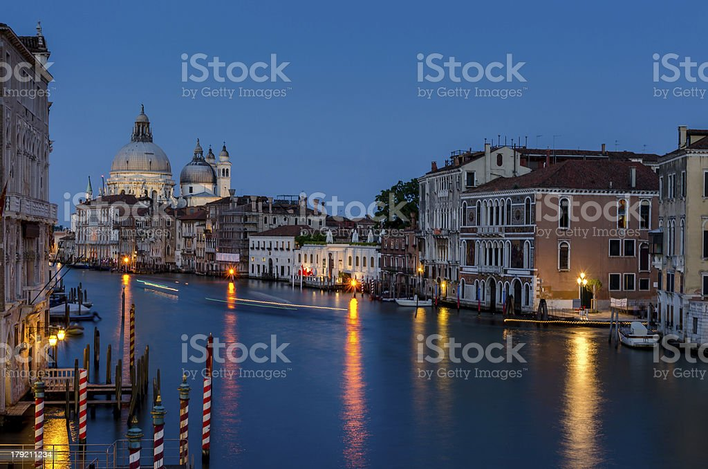 Grand Canal at night, Venice. royalty-free stock photo