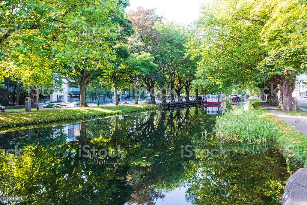 Grand canal Dublin, Ireland. stock photo
