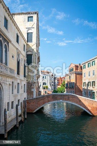 Grand canal for gondola in travel europe city. Old italian architecture with landmark bridge, romantic boat. Venezia. Italy, Venice