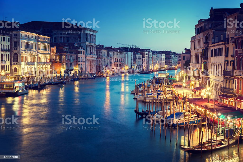 Grand Canal in sunset time, Venice, Italy stock photo