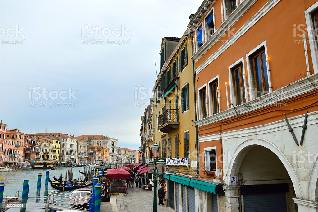 Grand Canal in the evening, panorama view, Venice stock photo