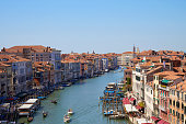 Grand Canal in Venice, aerial view with clear blue sky in summer in Italy