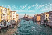 The Venetian Lagoon with docked gondolas.