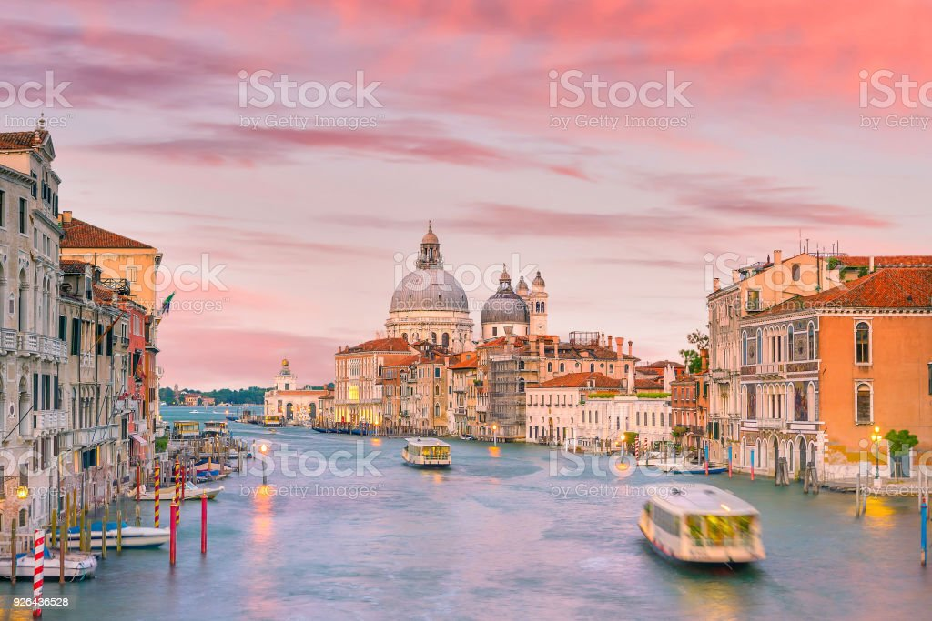 Grand Canal in Venice, Italy with Santa Maria della Salute Basilica stock photo