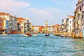 Grand Canal near the Rialto Bridge in Venice, beautiful summer view.