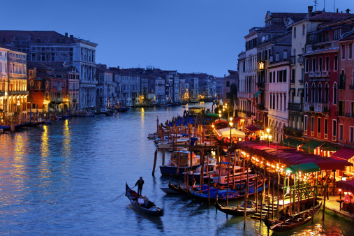 Grand Canal of Venice at the Blue Hour with gondola