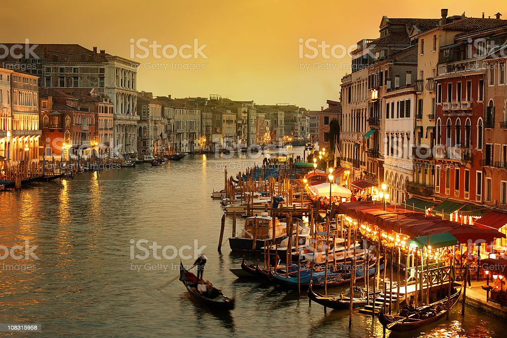 Grand Canal of Venice at twilight with gondola stock photo