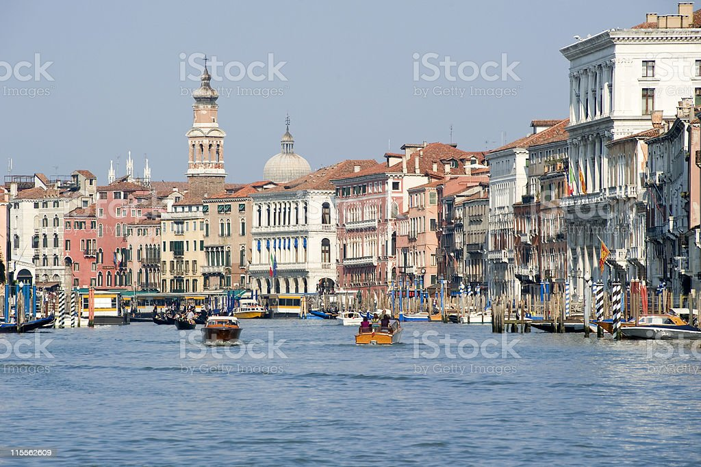 Grand Canal of Venice with boats and palazzos royalty-free stock photo