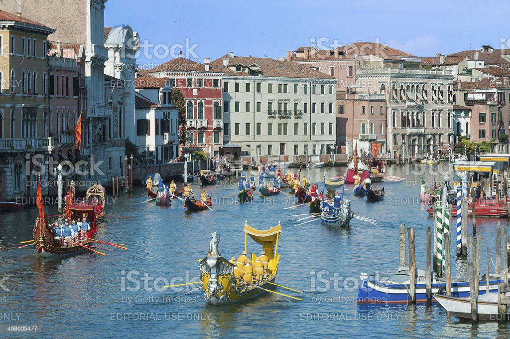 Grand Canal procession of Venic's historic gondolas royalty-free stock photo