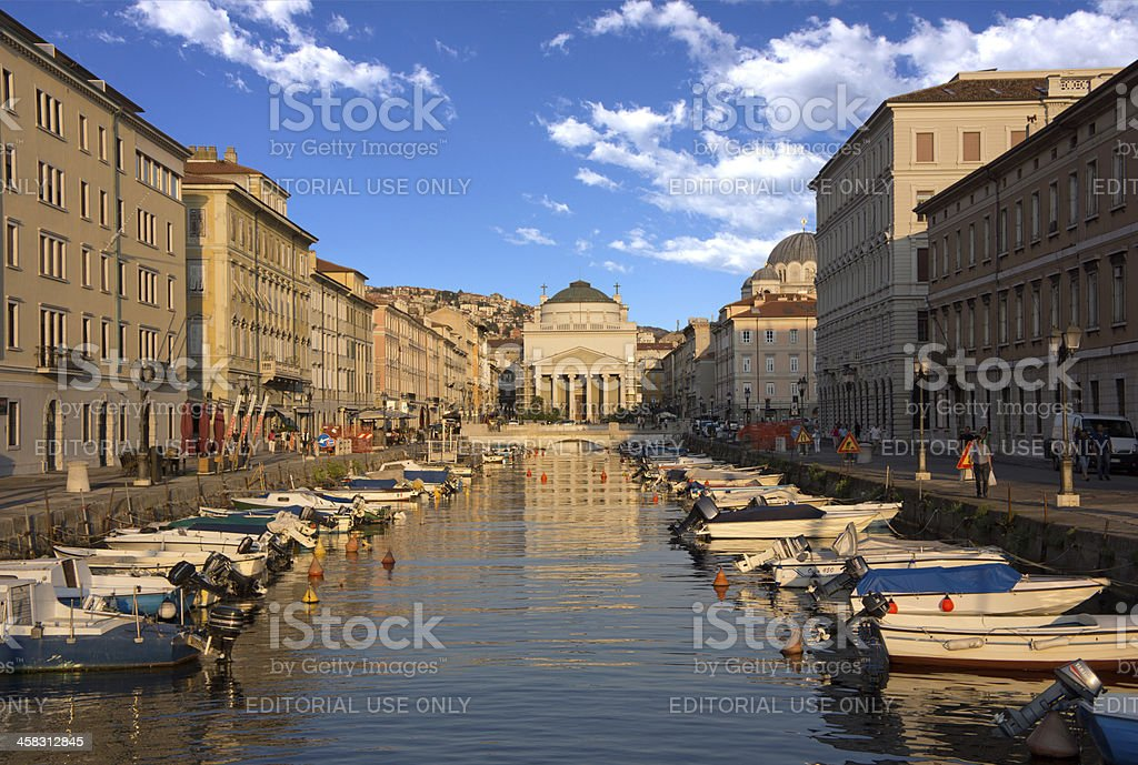 Grand Canal, Trieste, Italy stock photo