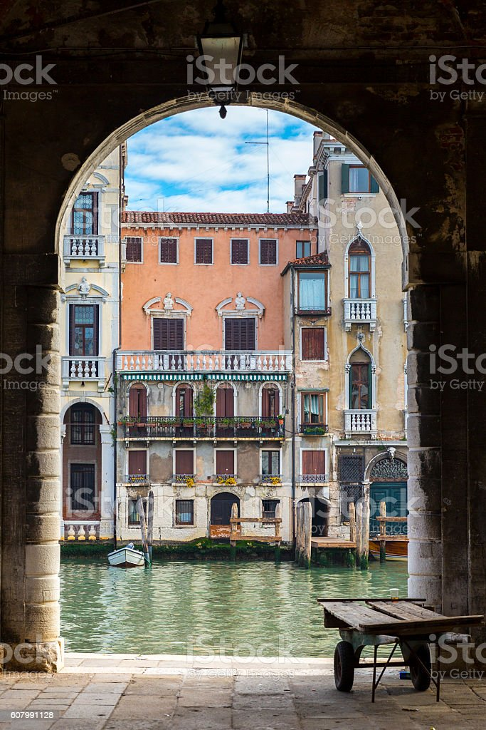 Grand Canal typical palace facades, Venice, Italy stock photo
