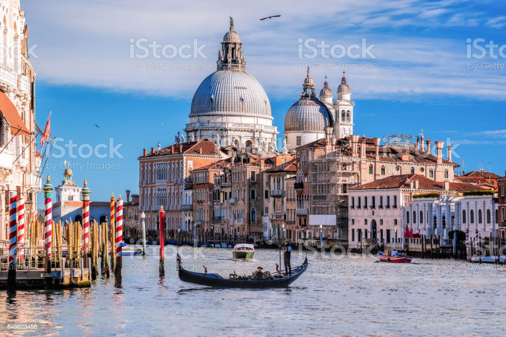Grand Canal with gondola in Venice, Italy stock photo