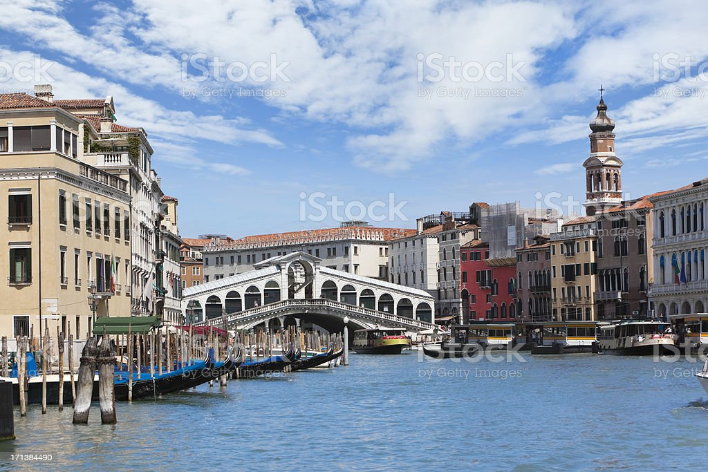 Grand Canal with Rialto Bridge Square Venice Italy royalty-free stock photo