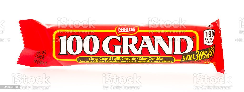 100 Grand Candy Bar stock photo