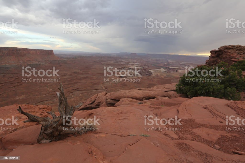 Grand canyon and coudy gray sky stock photo