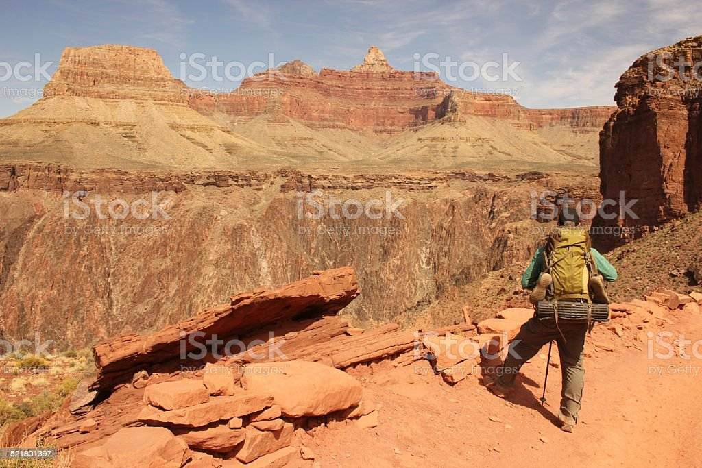 Grand Canyon Backpacker stock photo