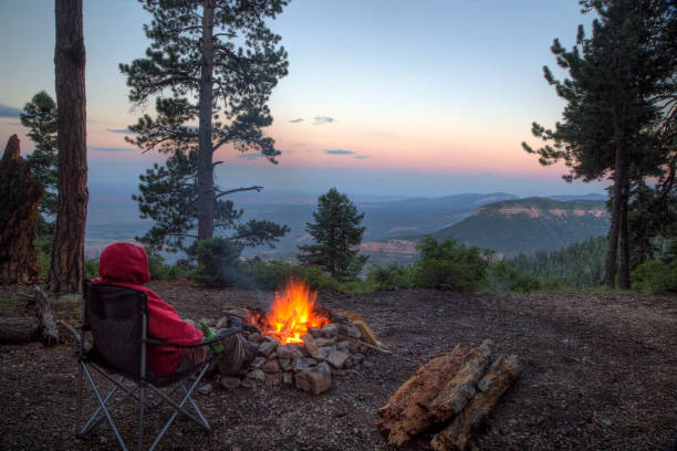 Grand Canyon Campfire stock photo