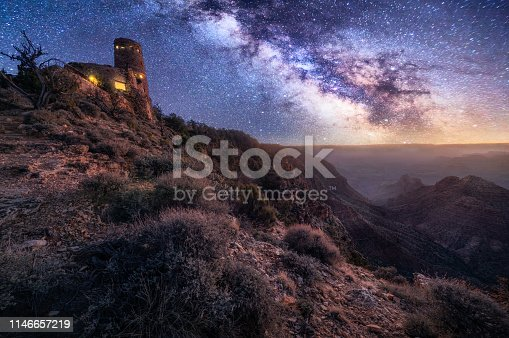 Grand Canyon National Park at night with milky way in the sky from Desert view Viewpoint