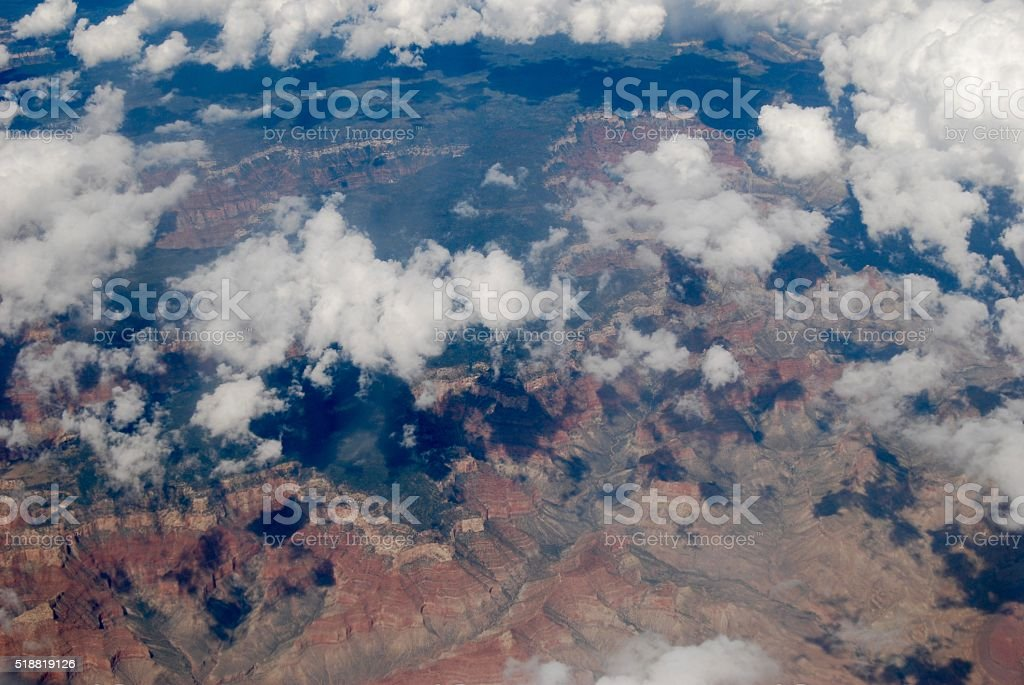 Grand Canyon from above the clouds stock photo