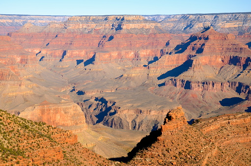 The Grand Canyon is a majestic landscape that took millions of years to create. On this winter day, the sky is clear, and its color even more vibrant.