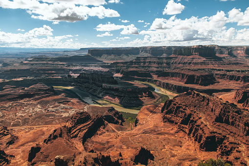 Grand Canyon and the Colorado River seen inside the Dead Horse Point State Park a hot summer day.