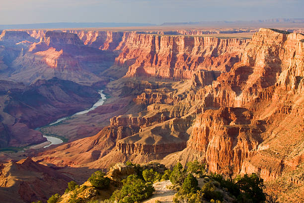 Grand Canyon landscape at dusk viewed from desert stock photo