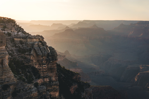 Grand Canyon landscape during sunset view from south rim Arizona