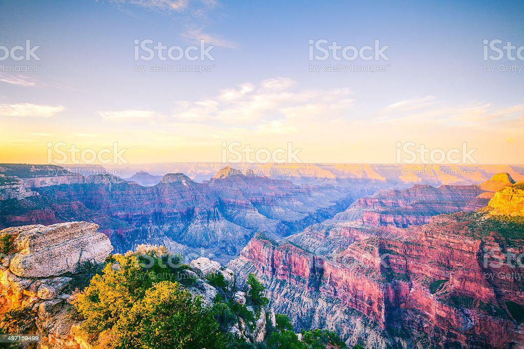 Grand Canyon National Park at Sunrise, North Rim, USA Landmark stock photo