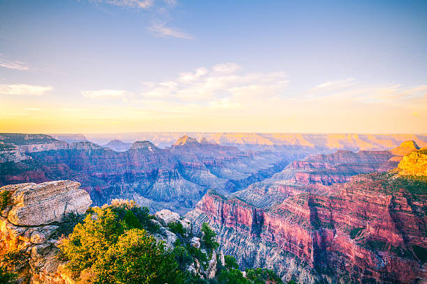 Grand Canyon National Park at Sunrise, North Rim, USA Landmark stock photo