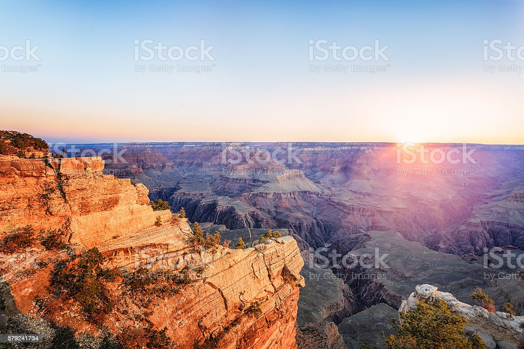 Grand Canyon National Park at sunset stock photo