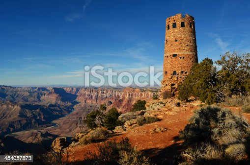 Colter-designed 1930's Desert Watchtower overlooking the canyon gorge and Colorado River in Grand Canyon National Park, Arizona, USA.