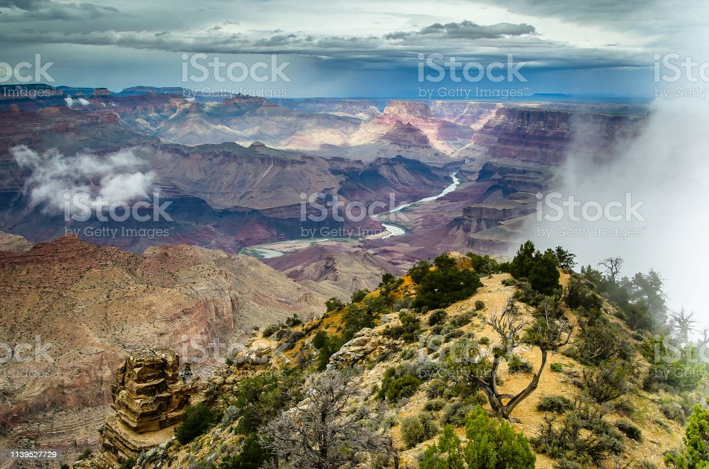 Grand Canyon National Park Usa Stormy Weather Stock Photo