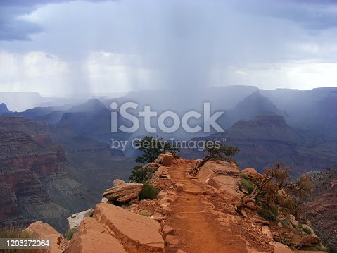Red sandstone trekking path South Kaibab trail in Grand Canyon nationalpark in Arizona USA with upcoming weather storm / thunderstorm , rain clouds coming up in mountains
