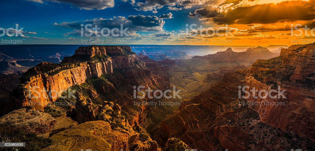 Grand Canyon North Rim Cape Royal Overlook at Sunset royalty-free stock photo