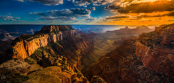 Grand Canyon North Rim Cape Royal Overlook at Sunset stock photo