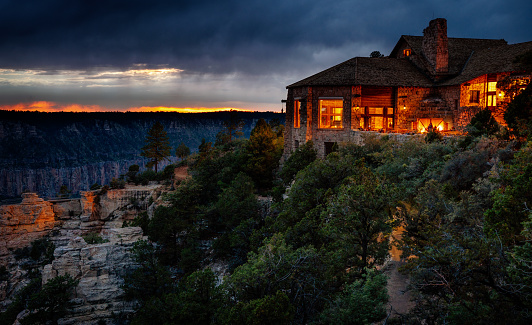 istock Grand Canyon North Rim Lodge after sunset 1072788570