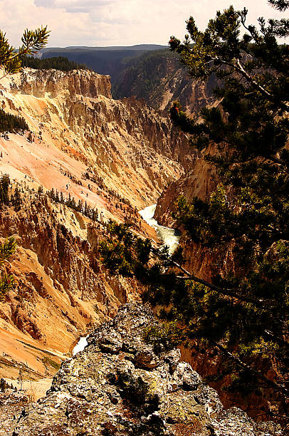Grand Canyon of the Yellowstone National Park, Wyoming, USA stock photo