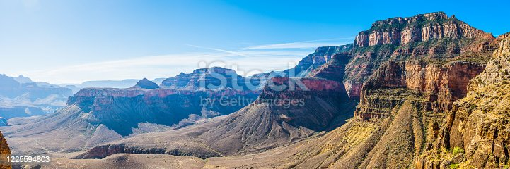 The massive cliffs of the South Rim overlooking the South Kaibab Trail down into the Grand Canyon, Arizona, USA.