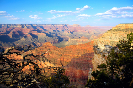 Grand Canyon aerial view with sun