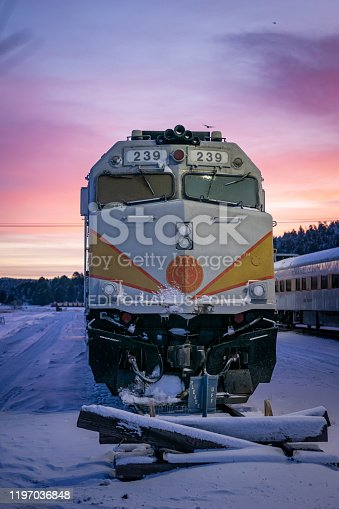 Williams, Arizona/USA- December 26th 2019: A sunrise photo of the Grand Canyon Railway locomotive train car.