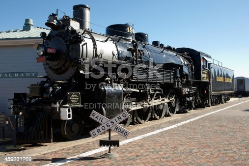 Williams, USA - April 5, 2009: Grand Canyon Railway steam locomotive at Williams AZ station