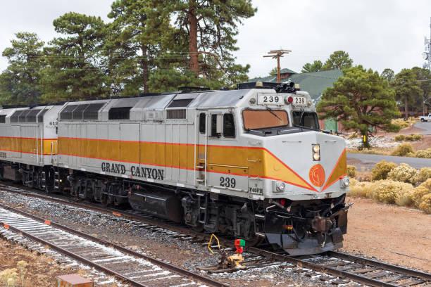 Grand Canyon Railway train in Grand Canyon Village, Arizona. stock photo