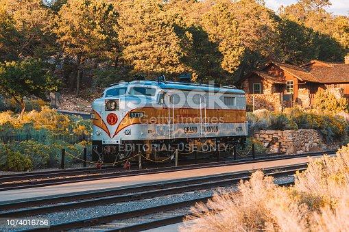 Arizona, USA - April 10, 2017: Grand canyon railway train. A stop at the Grand Canyon village.