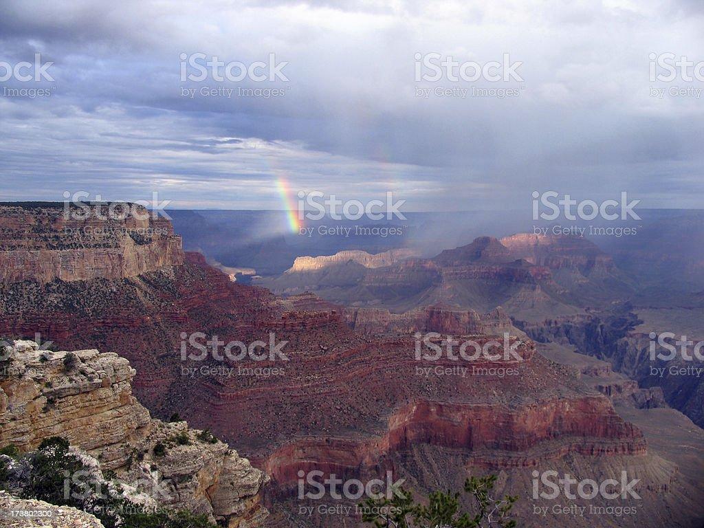 Grand Canyon rainbow stock photo