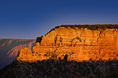 Grand Canyon rock at the sunset with a blue sky