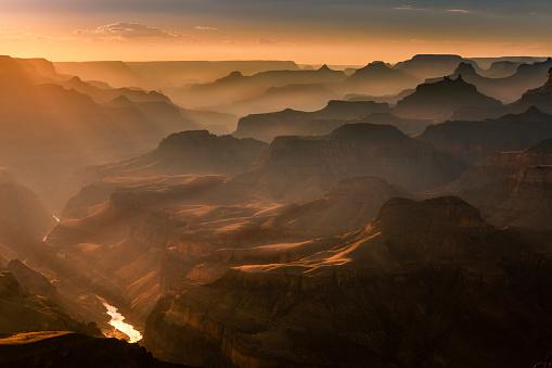 Grand Canyon south rim, Colorado River at sunset – Arizona, USA