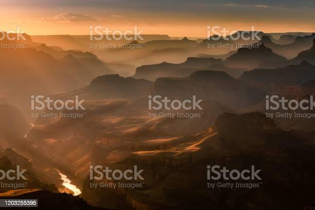 Photo of Grand Canyon south rim, Colorado River at sunset – Arizona, USA